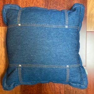 "MATCH Pillow 18"" Blue Denim Rivets Orange Thread"